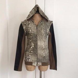 one teaspoon snakeskin print zip front hoodie nwot